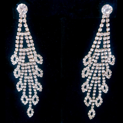 Long rhinestone hanging gold tone earring
