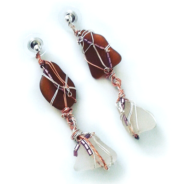 Silver and copper wire wrapped stone earrings